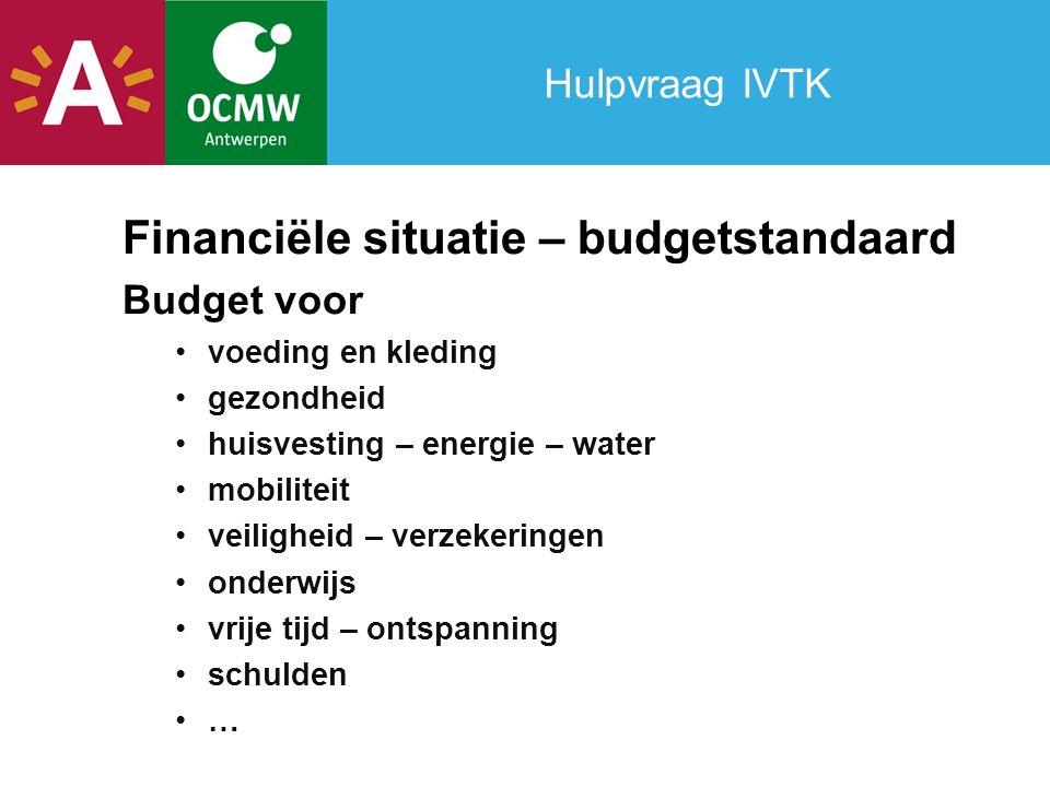Hulpvraag IVTK Financiële situatie – budgetstandaard Budget voor voeding en kleding gezondheid huisvesting – energie – water mobiliteit veiligheid – verzekeringen onderwijs vrije tijd – ontspanning schulden …