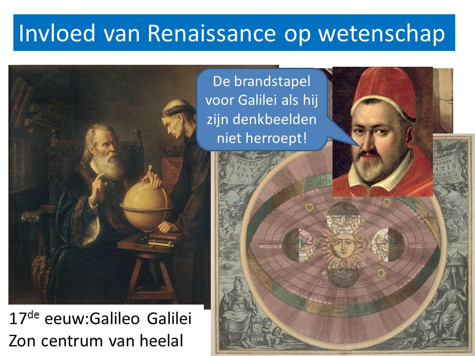 Invloed van Renaissance op wetenschap 16 e eeuw: Copernicus 17 de eeuw:Galileo Galilei Zon centrum van heelal De brandstapel voor Galilei als hij zijn denkbeelden niet herroept!