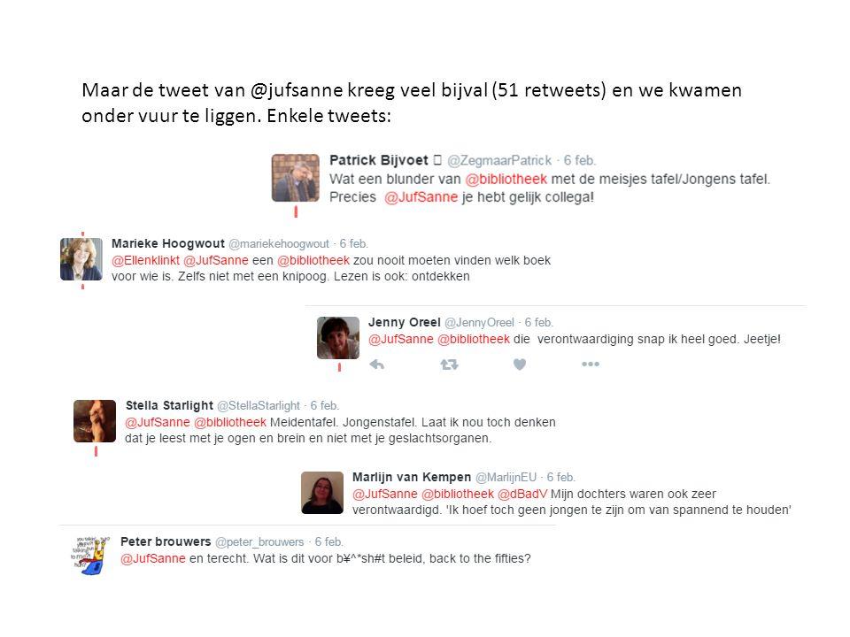 Maar de tweet van @jufsanne kreeg veel bijval (51 retweets) en we kwamen onder vuur te liggen.