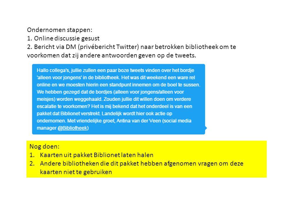 Ondernomen stappen: 1. Online discussie gesust 2.