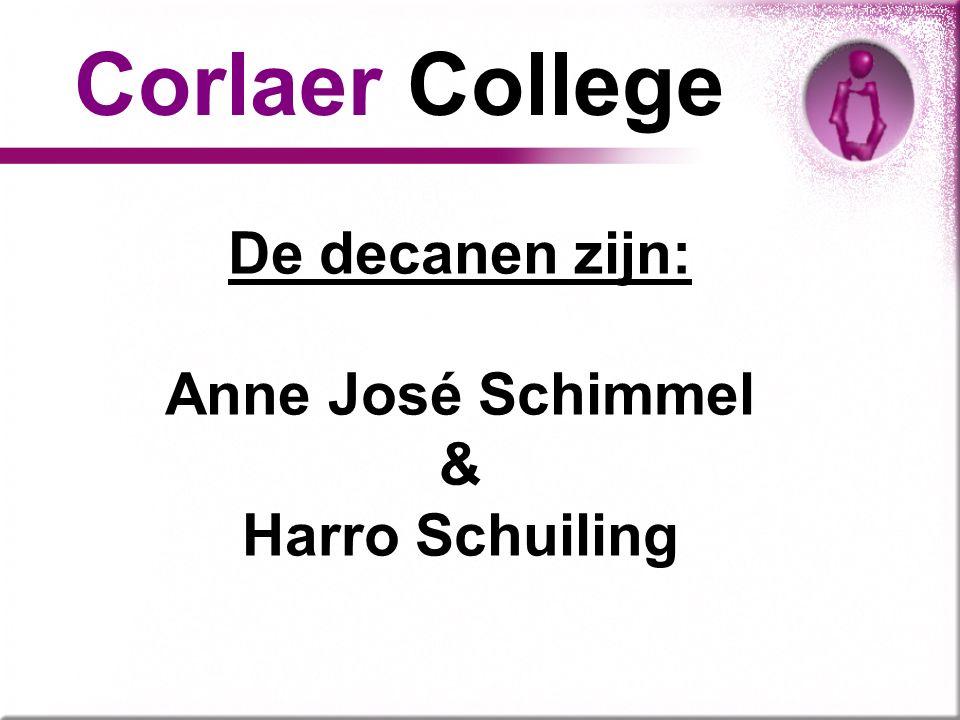 Corlaer College De decanen zijn: Anne José Schimmel & Harro Schuiling