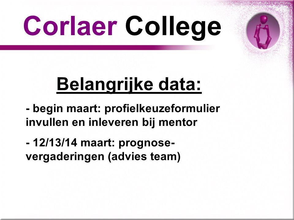 Belangrijke data: - begin maart: profielkeuzeformulier invullen en inleveren bij mentor - 12/13/14 maart: prognose- vergaderingen (advies team) Corlae