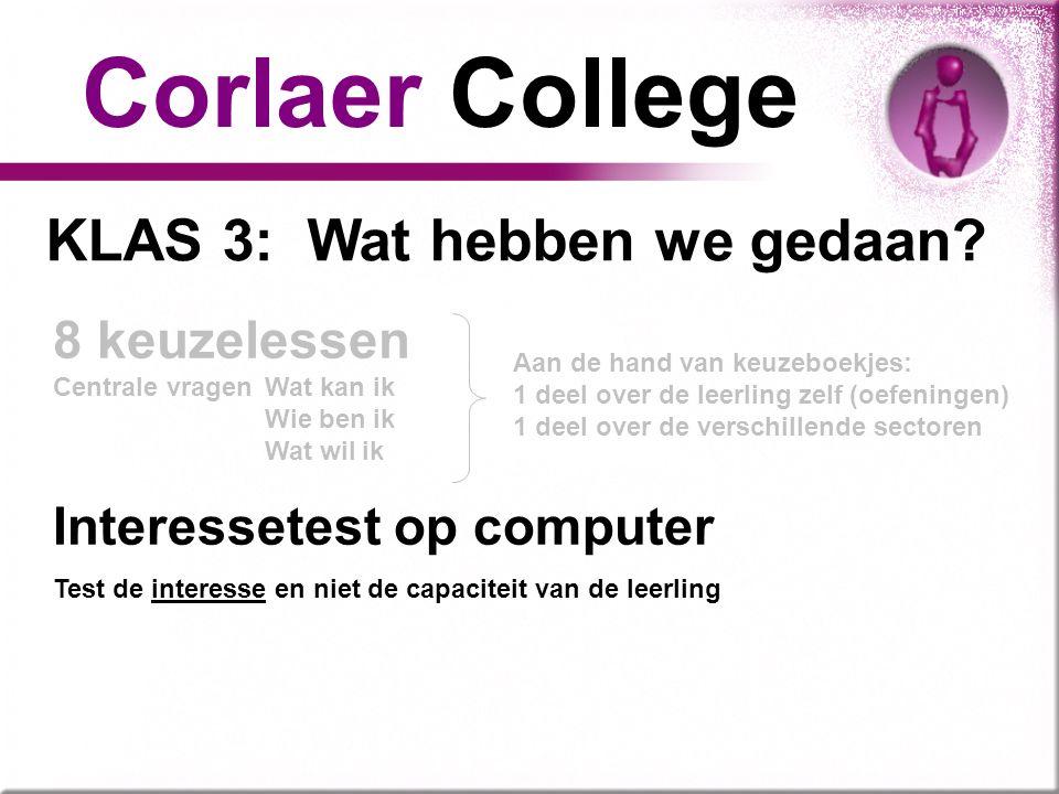 KLAS 3: Wat hebben we gedaan? Corlaer College 8 keuzelessen Centrale vragenWat kan ik Wie ben ik Wat wil ik Aan de hand van keuzeboekjes: 1 deel over