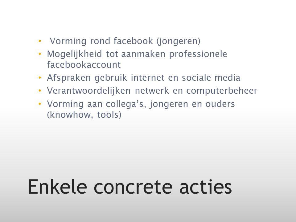 Vorming rond facebook (jongeren) Mogelijkheid tot aanmaken professionele facebookaccount Afspraken gebruik internet en sociale media Verantwoordelijke