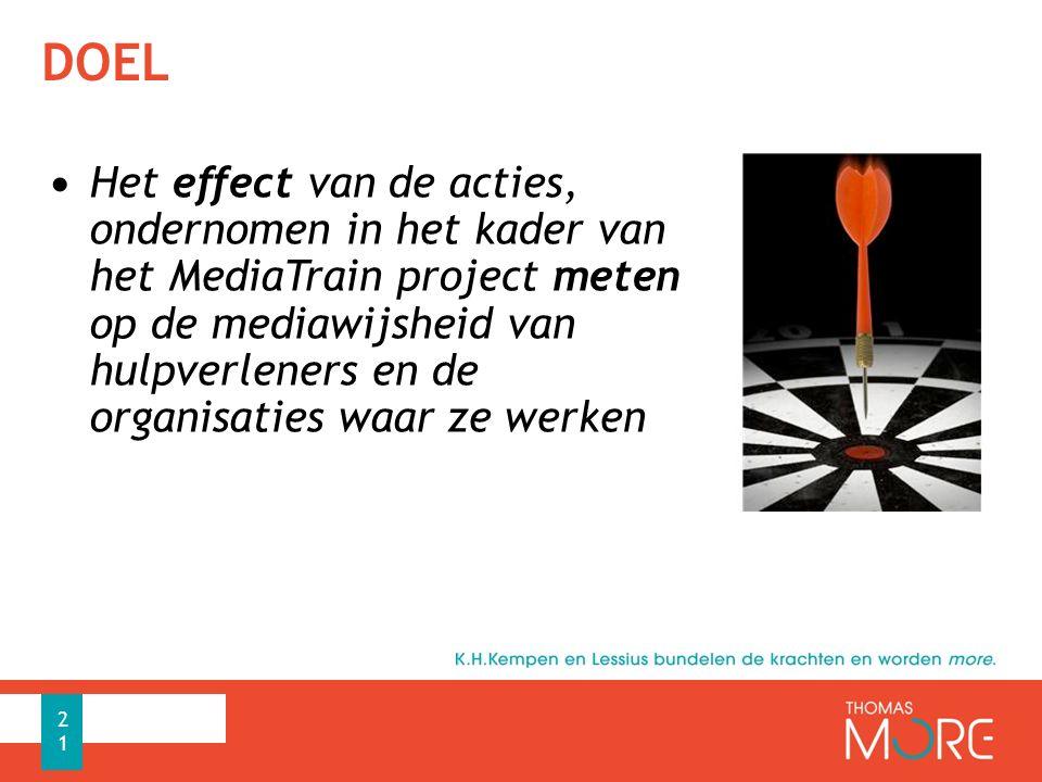 DOEL Het effect van de acties, ondernomen in het kader van het MediaTrain project meten op de mediawijsheid van hulpverleners en de organisaties waar