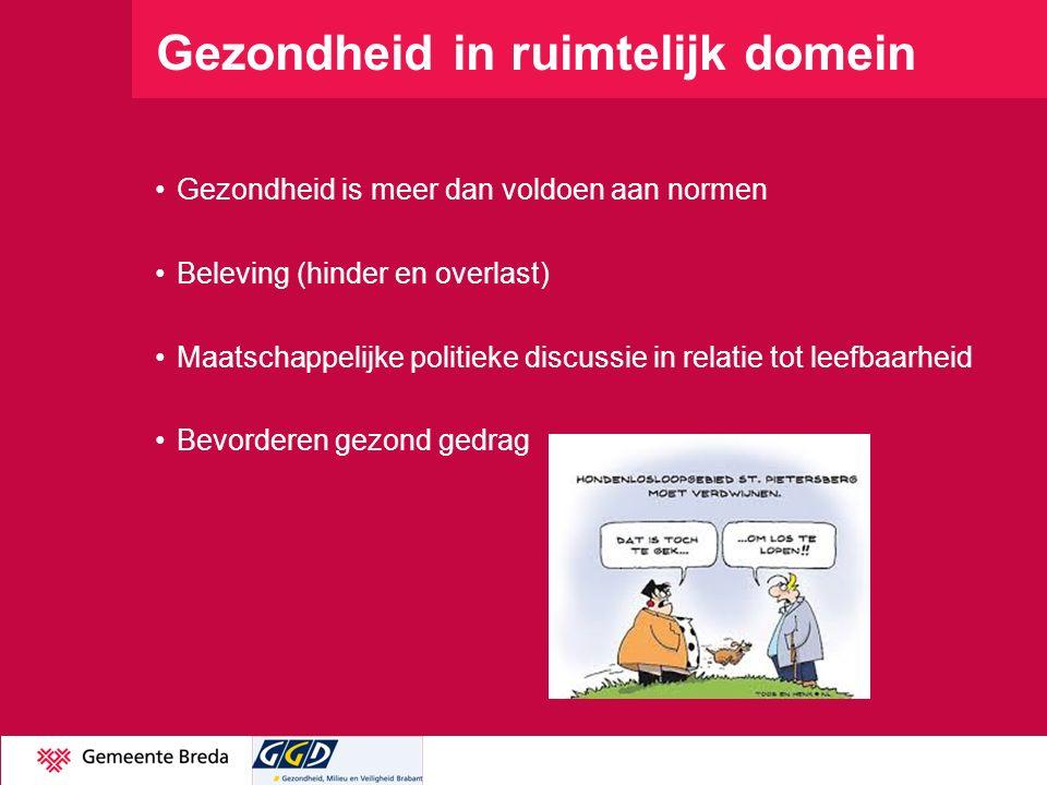 Gezondheid in ruimtelijk domein Gezondheid is meer dan voldoen aan normen Beleving (hinder en overlast) Maatschappelijke politieke discussie in relatie tot leefbaarheid Bevorderen gezond gedrag