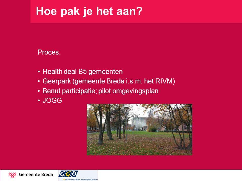 Hoe pak je het aan? Proces: Health deal B5 gemeenten Geerpark (gemeente Breda i.s.m. het RIVM) Benut participatie; pilot omgevingsplan JOGG 13