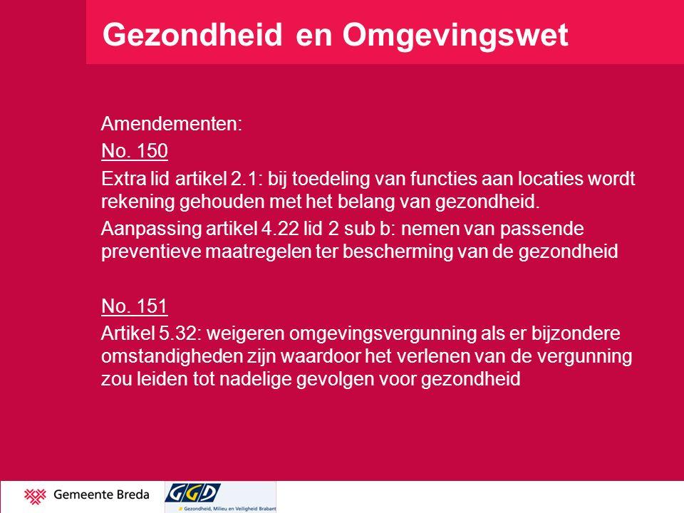 Gezondheid en Omgevingswet Amendementen: No. 150 Extra lid artikel 2.1: bij toedeling van functies aan locaties wordt rekening gehouden met het belang