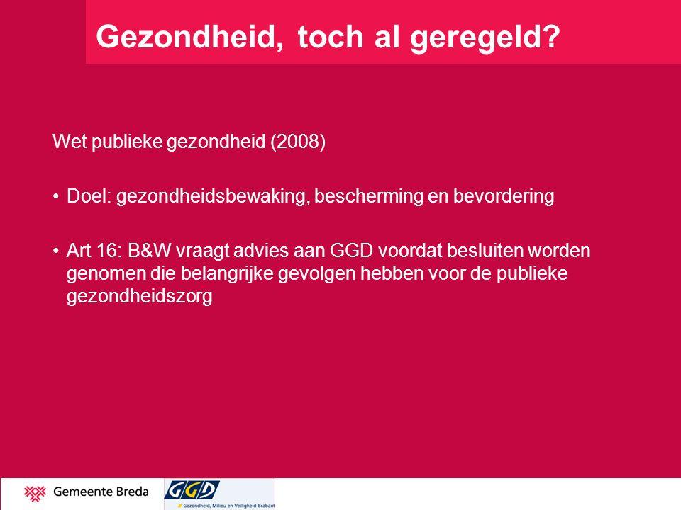 Gezondheid, toch al geregeld? Wet publieke gezondheid (2008) Doel: gezondheidsbewaking, bescherming en bevordering Art 16: B&W vraagt advies aan GGD v