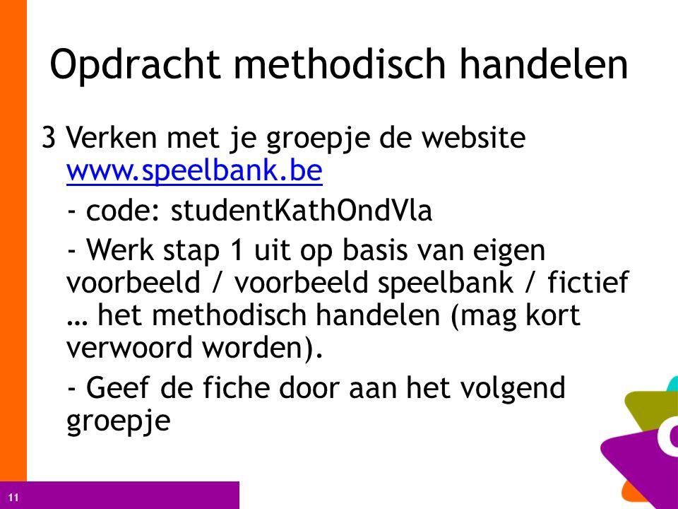 11 Opdracht methodisch handelen 3 Verken met je groepje de website www.speelbank.be www.speelbank.be - code: studentKathOndVla - Werk stap 1 uit op basis van eigen voorbeeld / voorbeeld speelbank / fictief … het methodisch handelen (mag kort verwoord worden).
