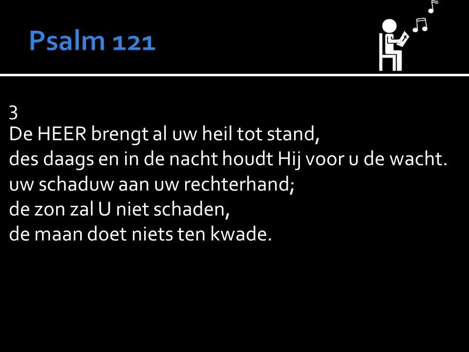 3 De HEER brengt al uw heil tot stand, des daags en in de nacht houdt Hij voor u de wacht.