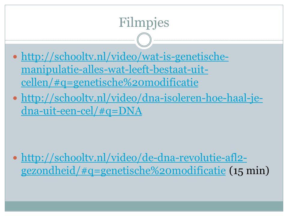 Filmpjes http://schooltv.nl/video/wat-is-genetische- manipulatie-alles-wat-leeft-bestaat-uit- cellen/#q=genetische%20modificatie http://schooltv.nl/vi
