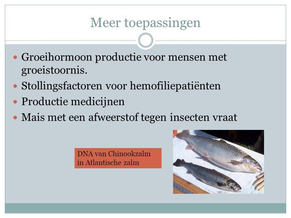 Meer toepassingen Groeihormoon productie voor mensen met groeistoornis. Stollingsfactoren voor hemofiliepatiënten Productie medicijnen Mais met een af