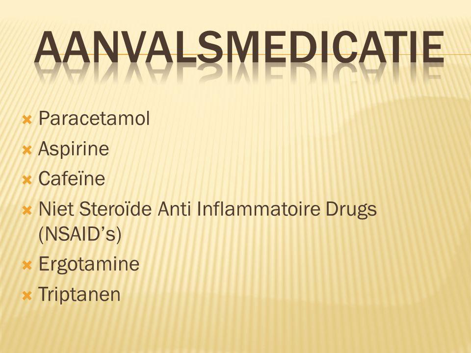  Paracetamol  Aspirine  Cafeïne  Niet Steroïde Anti Inflammatoire Drugs (NSAID's)  Ergotamine  Triptanen