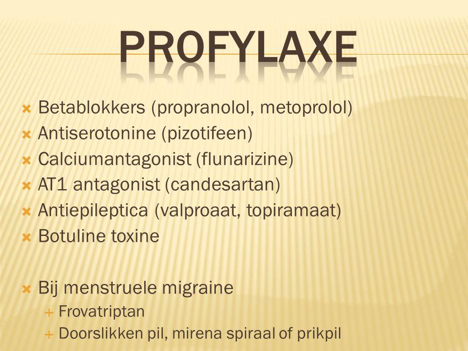  Betablokkers (propranolol, metoprolol)  Antiserotonine (pizotifeen)  Calciumantagonist (flunarizine)  AT1 antagonist (candesartan)  Antiepilepti