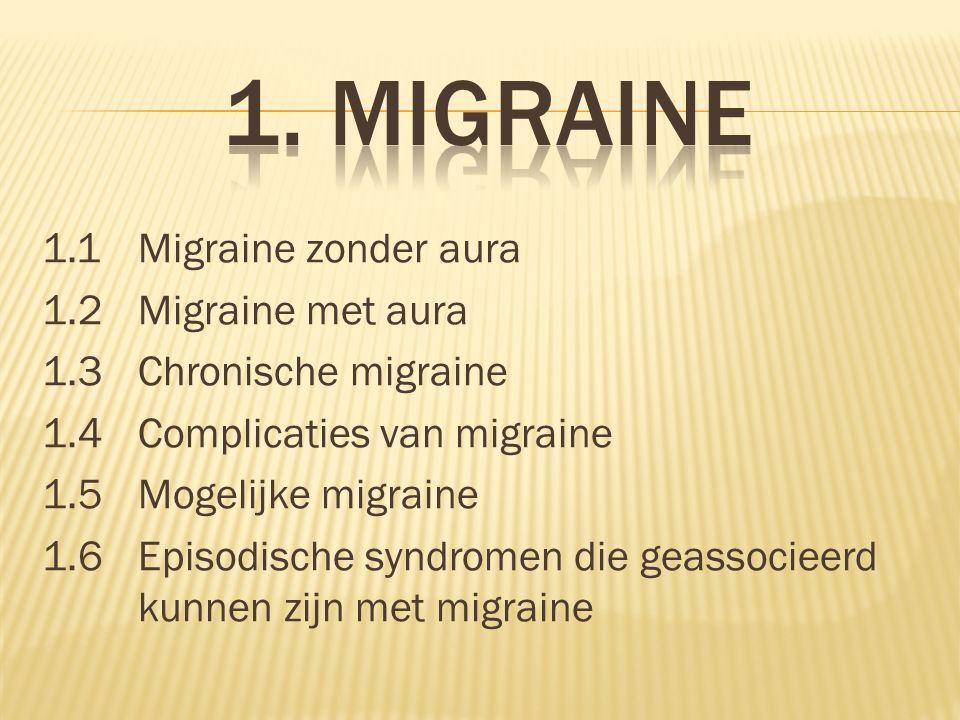 1.1Migraine zonder aura 1.2Migraine met aura 1.3Chronische migraine 1.4Complicaties van migraine 1.5Mogelijke migraine 1.6 Episodische syndromen die g
