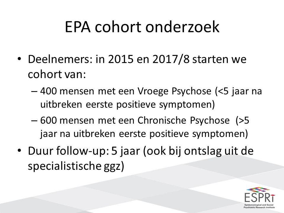 EPA cohort onderzoek Deelnemers: in 2015 en 2017/8 starten we cohort van: – 400 mensen met een Vroege Psychose (<5 jaar na uitbreken eerste positieve symptomen) – 600 mensen met een Chronische Psychose (>5 jaar na uitbreken eerste positieve symptomen) Duur follow-up: 5 jaar (ook bij ontslag uit de specialistische ggz)