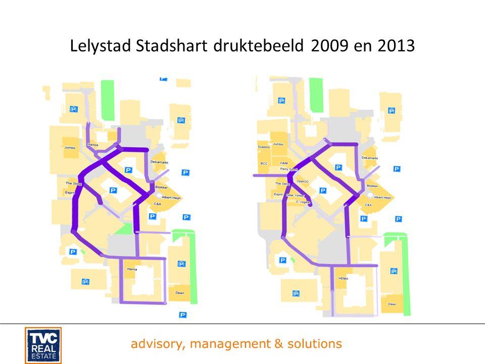 Lelystad Stadshart druktebeeld 2009 en 2013