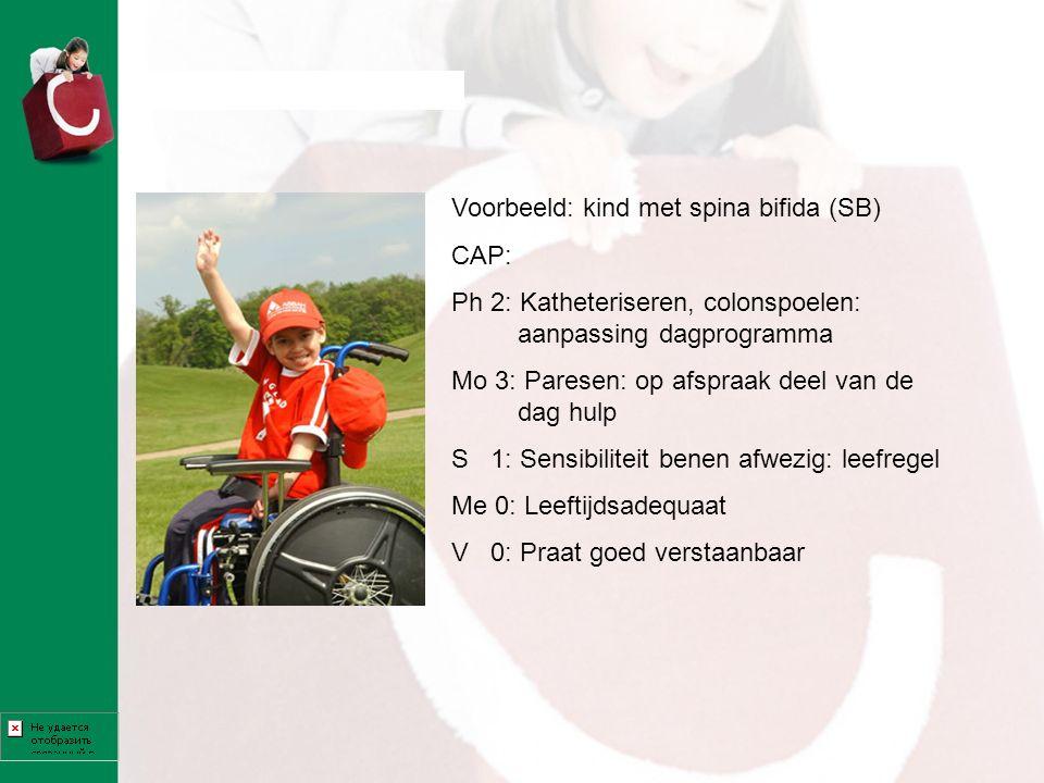 Voorbeeld: kind met spina bifida (SB) CAP: Ph 2: Katheteriseren, colonspoelen: aanpassing dagprogramma Mo 3: Paresen: op afspraak deel van de dag hulp