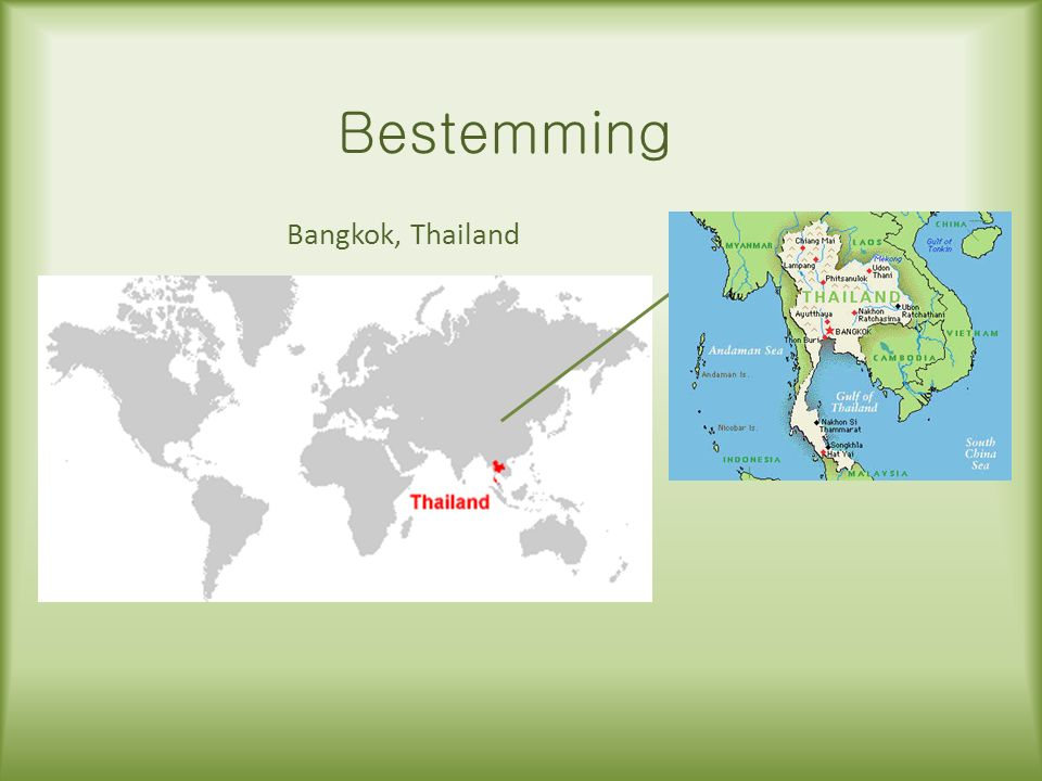 Bestemming Bangkok, Thailand