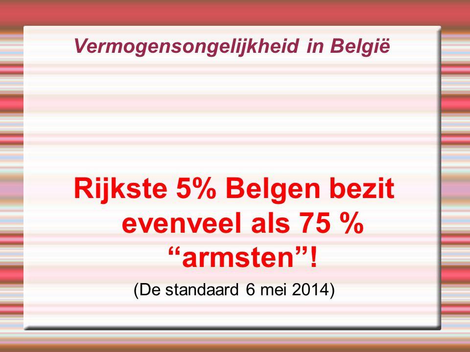 Vermogensongelijkheid in België Rijkste 5% Belgen bezit evenveel als 75 % armsten .
