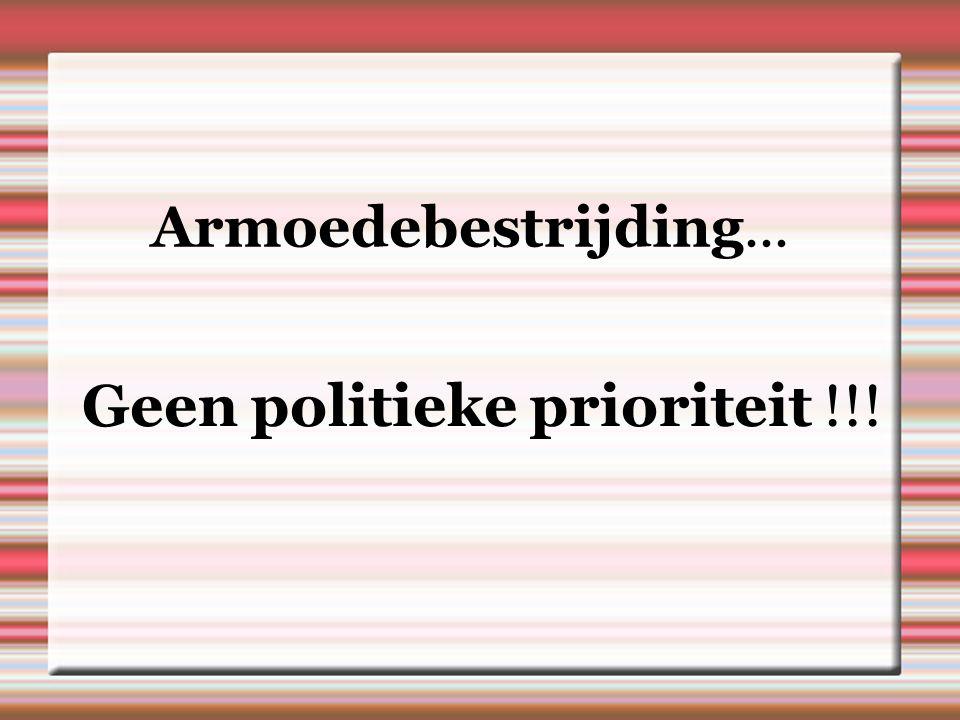Armoedebestrijding... Geen politieke prioriteit !!!