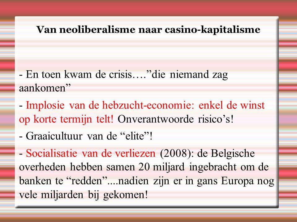 Van neoliberalisme naar casino-kapitalisme - En toen kwam de crisis…. die niemand zag aankomen - Implosie van de hebzucht-economie: enkel de winst op korte termijn telt.