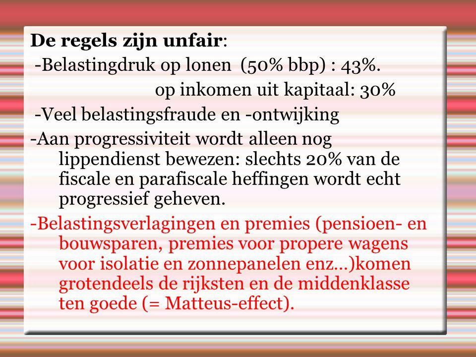 De regels zijn unfair: -Belastingdruk op lonen (50% bbp) : 43%.