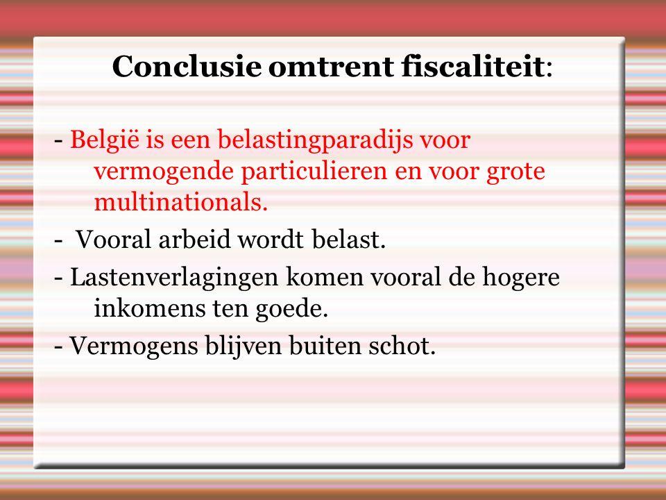 Conclusie omtrent fiscaliteit: - België is een belastingparadijs voor vermogende particulieren en voor grote multinationals.