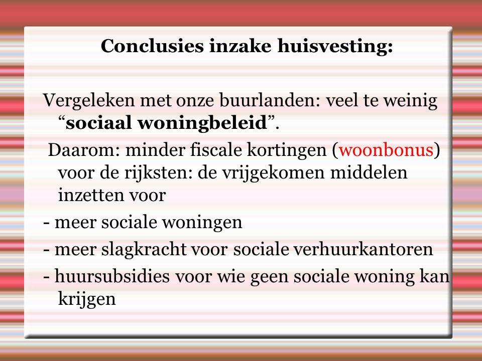 Conclusies inzake huisvesting: Vergeleken met onze buurlanden: veel te weinig sociaal woningbeleid .