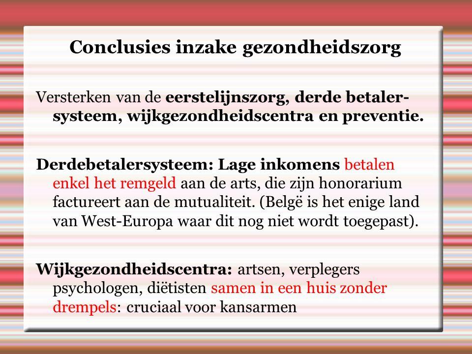 Conclusies inzake gezondheidszorg Versterken van de eerstelijnszorg, derde betaler- systeem, wijkgezondheidscentra en preventie.