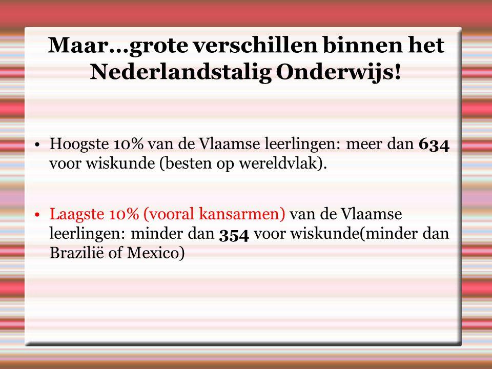 Maar…grote verschillen binnen het Nederlandstalig Onderwijs.