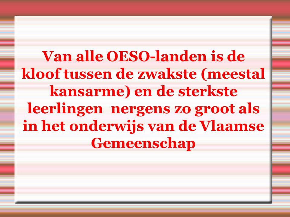 Van alle OESO-landen is de kloof tussen de zwakste (meestal kansarme) en de sterkste leerlingen nergens zo groot als in het onderwijs van de Vlaamse Gemeenschap