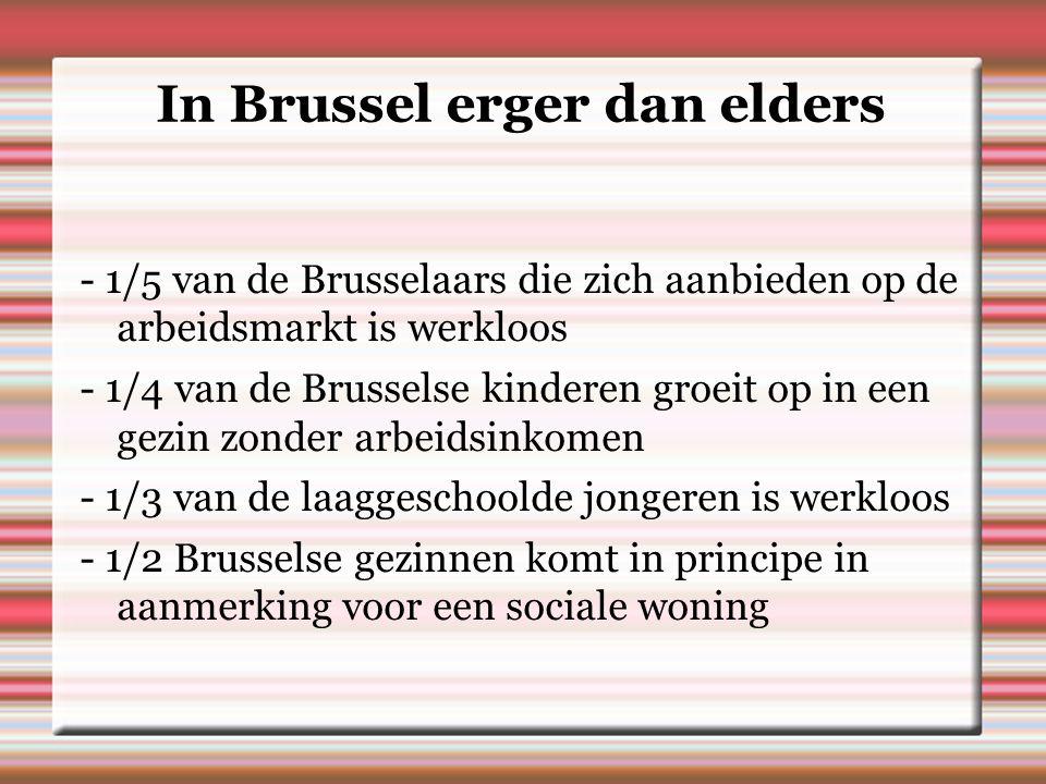 In Brussel erger dan elders - 1/5 van de Brusselaars die zich aanbieden op de arbeidsmarkt is werkloos - 1/4 van de Brusselse kinderen groeit op in een gezin zonder arbeidsinkomen - 1/3 van de laaggeschoolde jongeren is werkloos - 1/2 Brusselse gezinnen komt in principe in aanmerking voor een sociale woning