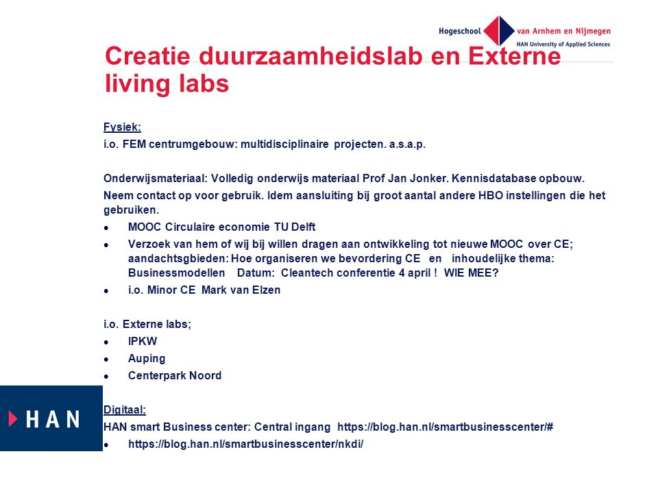 Creatie duurzaamheidslab en Externe living labs Fysiek: i.o. FEM centrumgebouw: multidisciplinaire projecten. a.s.a.p. Onderwijsmateriaal: Volledig on