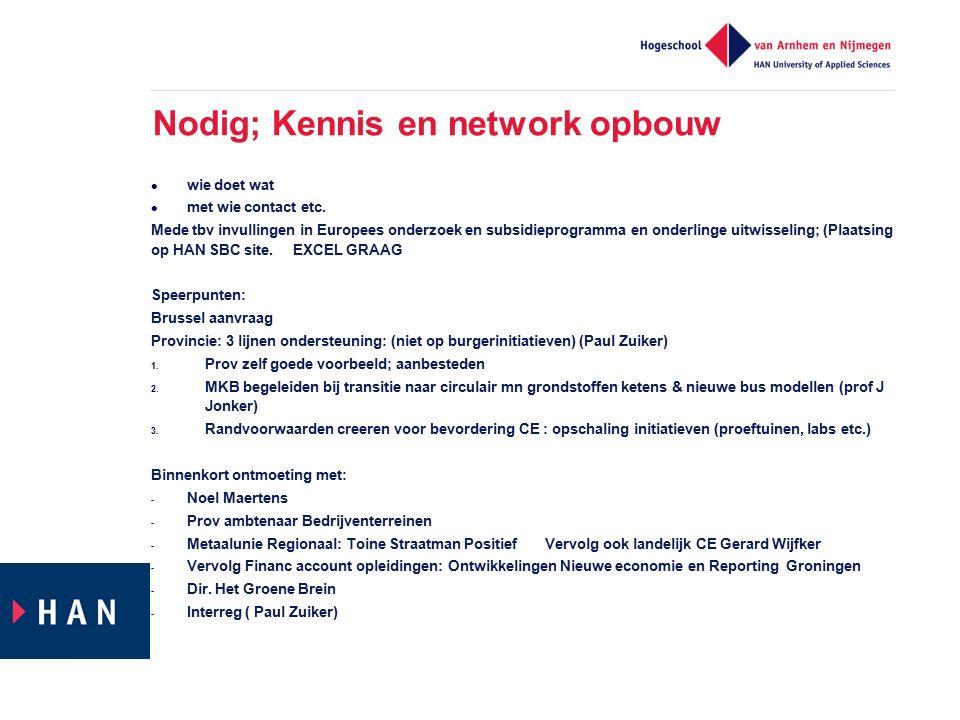 Nodig; Kennis en network opbouw wie doet wat met wie contact etc. Mede tbv invullingen in Europees onderzoek en subsidieprogramma en onderlinge uitwis