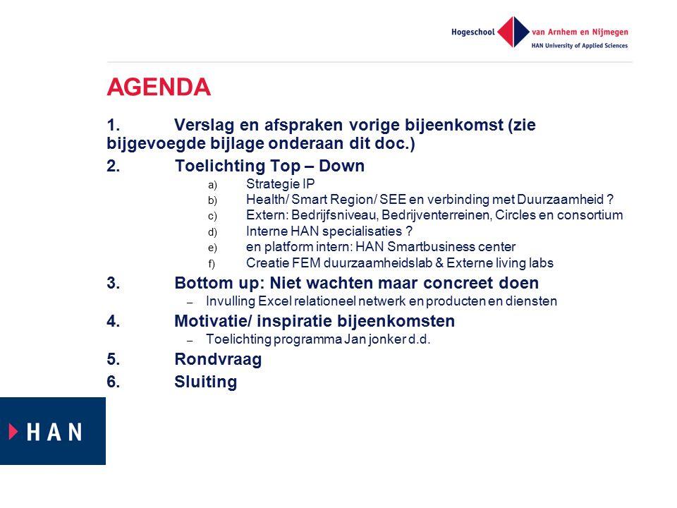 AGENDA 1.Verslag en afspraken vorige bijeenkomst (zie bijgevoegde bijlage onderaan dit doc.) 2.Toelichting Top – Down a) Strategie IP b) Health/ Smart Region/ SEE en verbinding met Duurzaamheid .