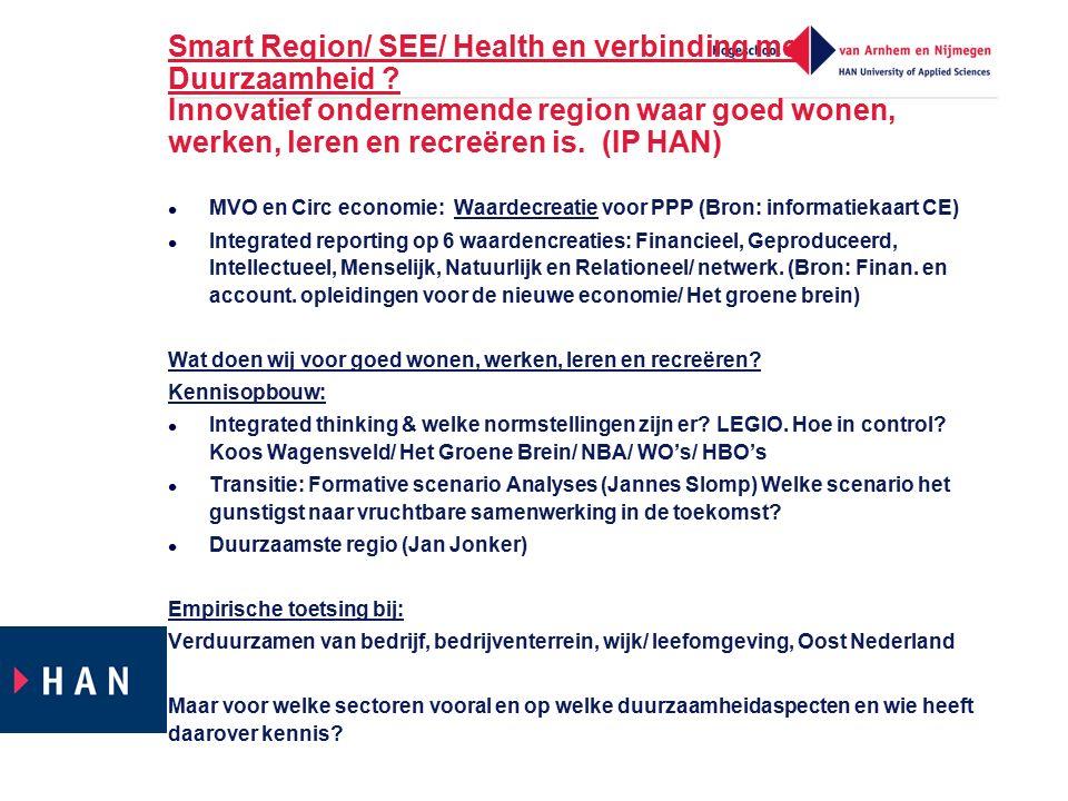 Smart Region/ SEE/ Health en verbinding met Duurzaamheid ? Innovatief ondernemende region waar goed wonen, werken, leren en recreëren is. (IP HAN) MVO