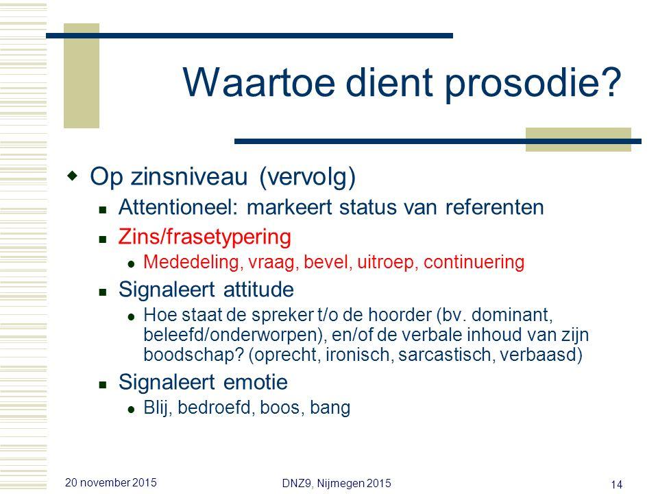 20 november 2015 DNZ9, Nijmegen 2015 13 Waartoe dient prosodie.