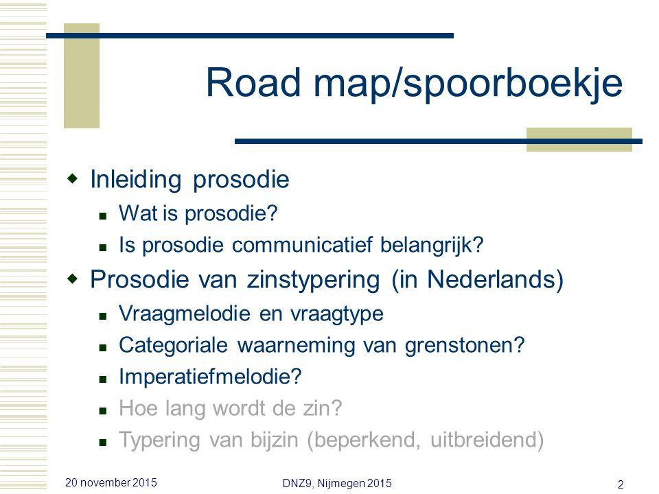 20 november 2015 DNZ9, Nijmegen 2015 2 Road map/spoorboekje  Inleiding prosodie Wat is prosodie.