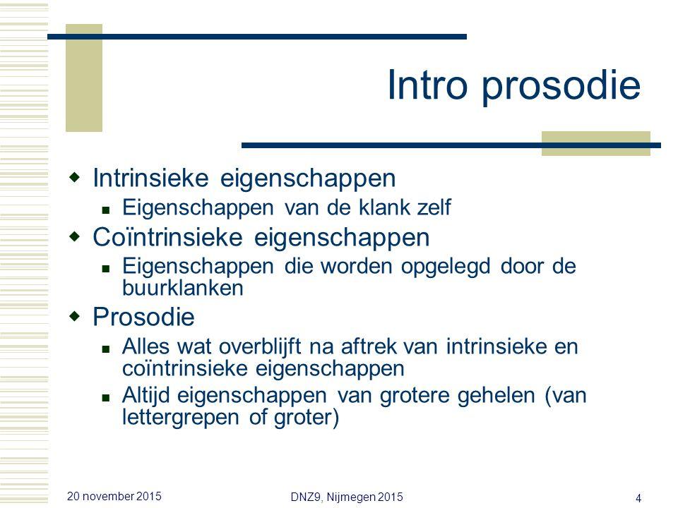20 november 2015 DNZ9, Nijmegen 2015 14 Waartoe dient prosodie.