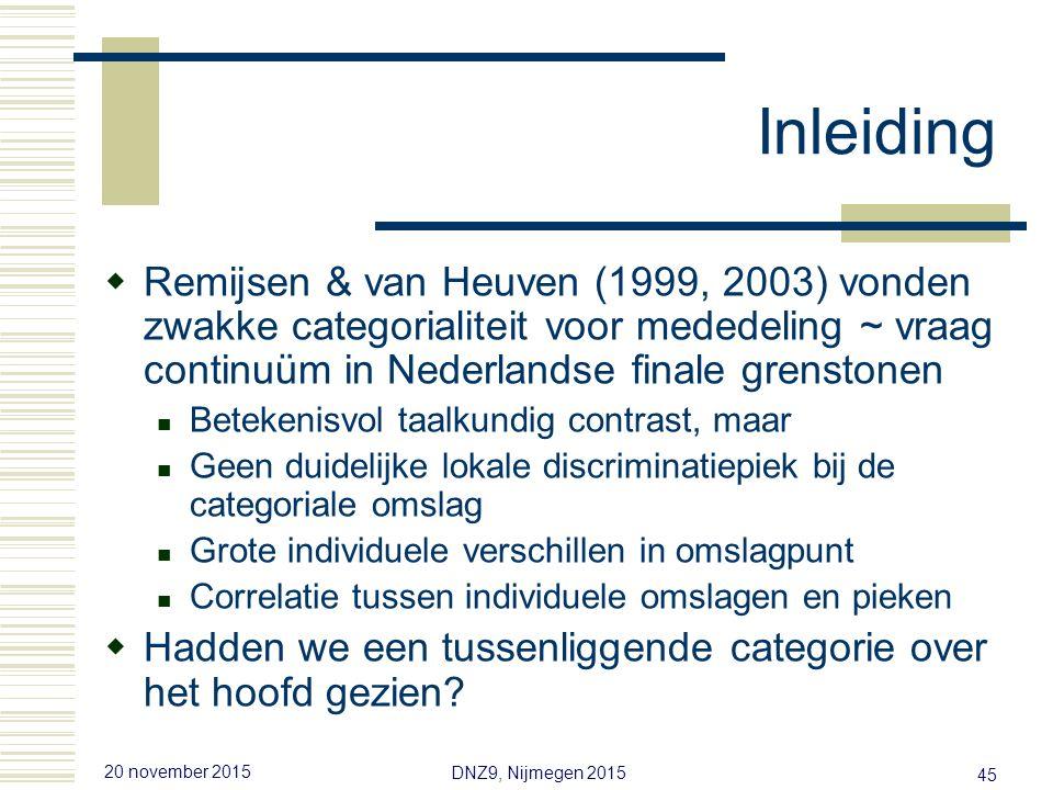 20 november 2015 DNZ9, Nijmegen 2015 44 Inleiding  Fonologie van tonen in de intonatie Discrete categorieën langs een melodisch continuüm  Fonetiek van tonen in de intonatie Graduele verandering van percept  Diagnostiek om de taalkundige/fonologische status van een melodisch contrast te stellen Categoriale perceptie = fonologisch contrast Ladd (1996), Ladd & Morton (1997)