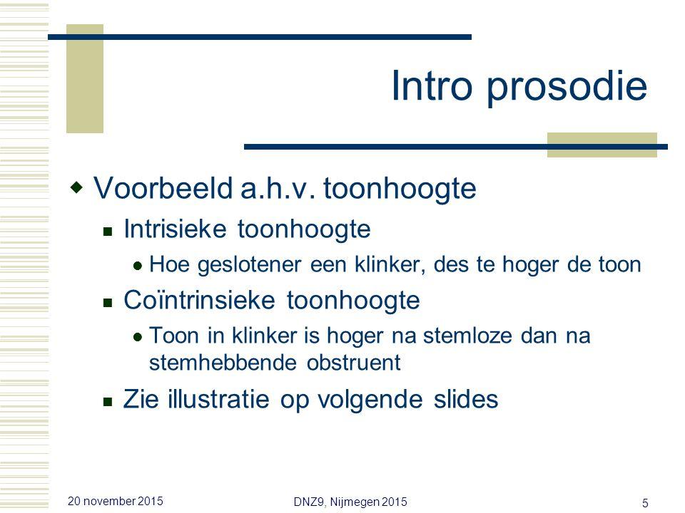 20 november 2015 DNZ9, Nijmegen 2015 5 Intro prosodie  Voorbeeld a.h.v.