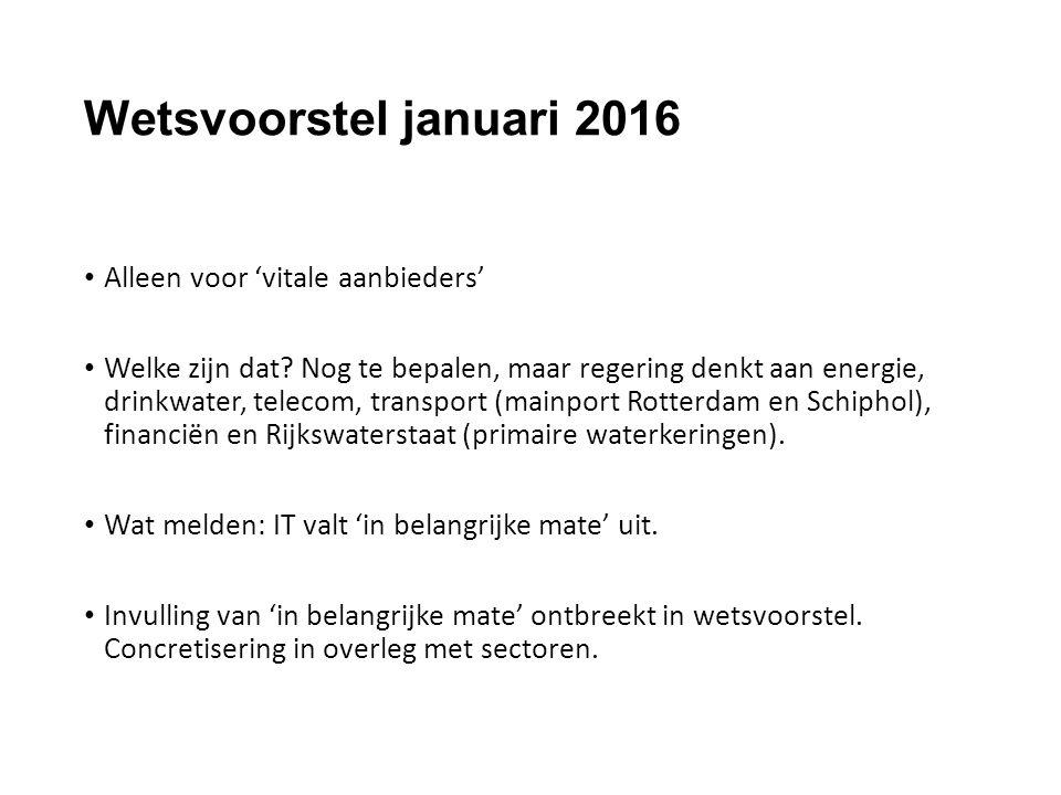 Wetsvoorstel januari 2016 Alleen voor 'vitale aanbieders' Welke zijn dat? Nog te bepalen, maar regering denkt aan energie, drinkwater, telecom, transp