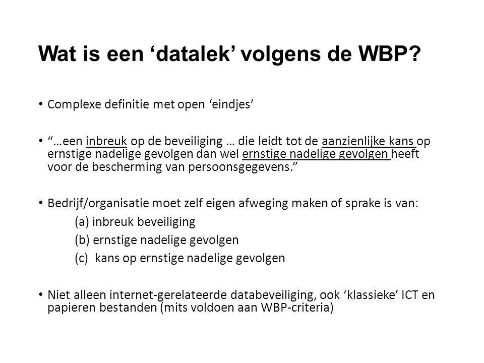 """Wat is een 'datalek' volgens de WBP? Complexe definitie met open 'eindjes' """"…een inbreuk op de beveiliging … die leidt tot de aanzienlijke kans op ern"""