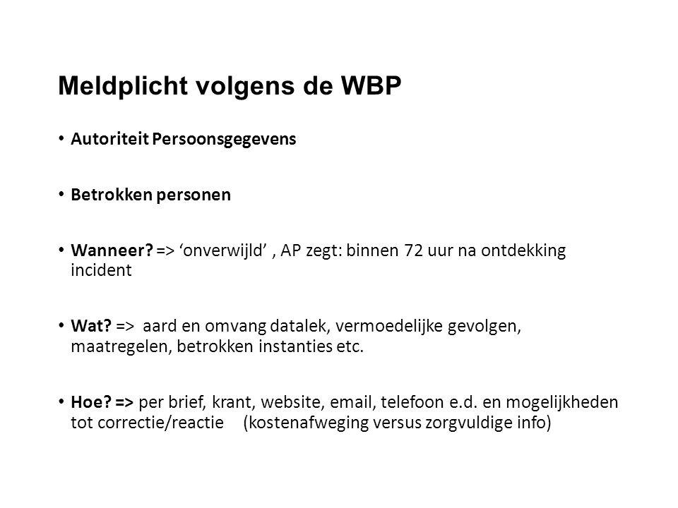 Meldplicht volgens de WBP Autoriteit Persoonsgegevens Betrokken personen Wanneer? => 'onverwijld', AP zegt: binnen 72 uur na ontdekking incident Wat?