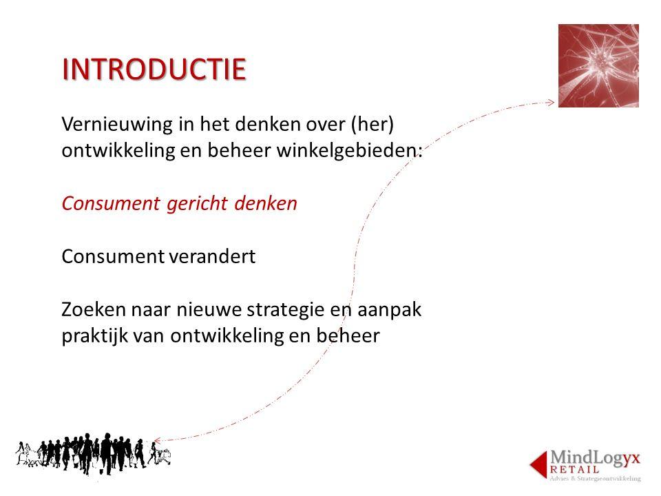 INTRODUCTIE Vernieuwing in het denken over (her) ontwikkeling en beheer winkelgebieden: Consument gericht denken Consument verandert Zoeken naar nieuw