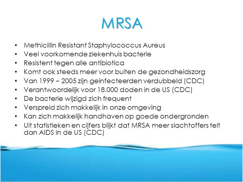 MRSA Methicillin Resistant Staphylococcus Aureus Veel voorkomende ziekenhuis bacterie Resistent tegen alle antibiotica Komt ook steeds meer voor buite