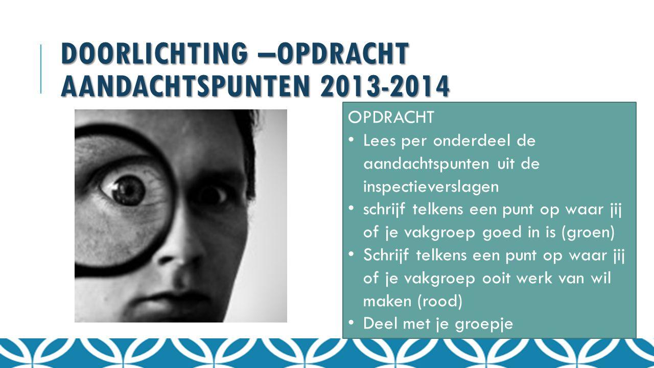 DOORLICHTING –OPDRACHT AANDACHTSPUNTEN 2013-2014 OPDRACHT Lees per onderdeel de aandachtspunten uit de inspectieverslagen schrijf telkens een punt op
