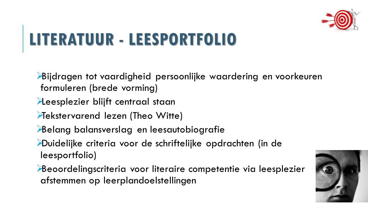 LITERATUUR - LEESPORTFOLIO  Bijdragen tot vaardigheid persoonlijke waardering en voorkeuren formuleren (brede vorming)  Leesplezier blijft centraal